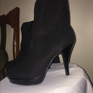Black suede knee length boots